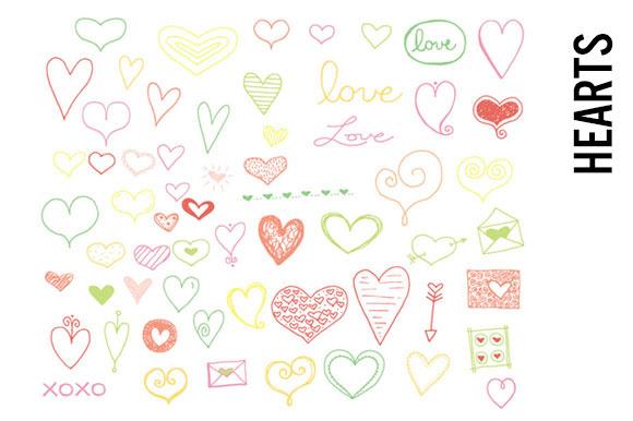 Bright Hearts Doodle Clip Art