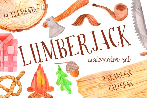 Watercolor Lumberjack Set