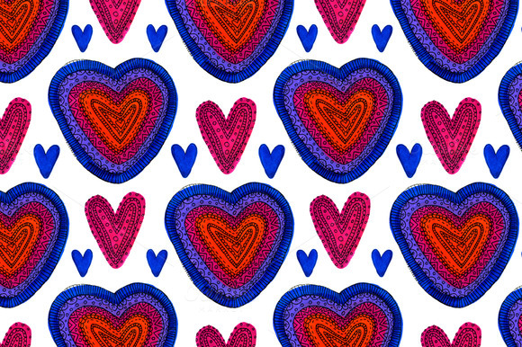 Decorative Hearts Seamless Pattern