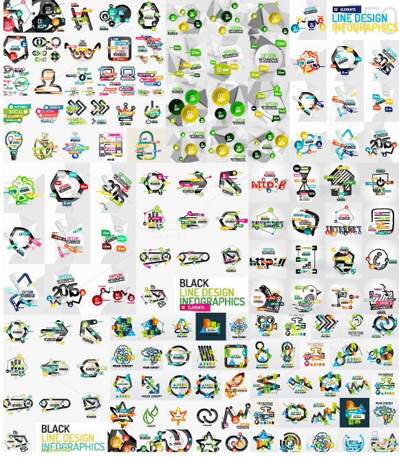 Huge Collection Of Line Infographics
