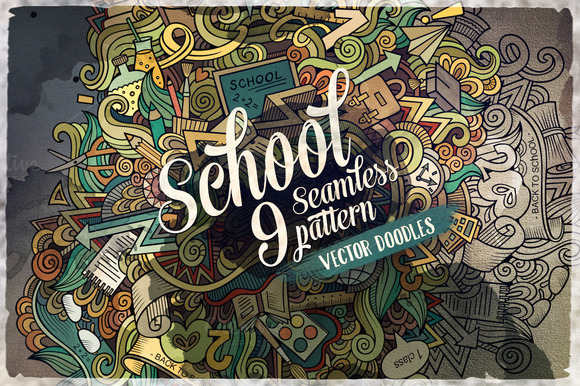 9 School Seamless Patterns Set