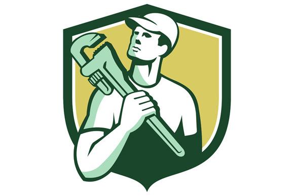 Tradesman Plumber Wrench Shield Retr