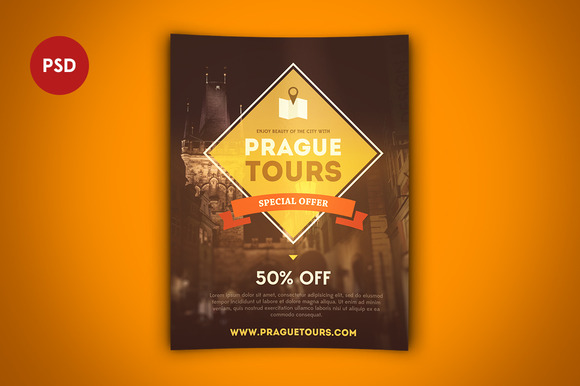 Tours Flyer Template PSD