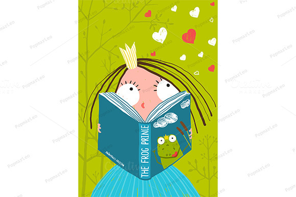 Smart Little Girl Reading Book