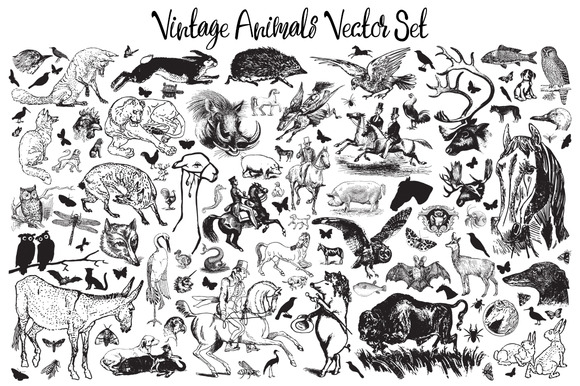 Vintage Animals Vector Set