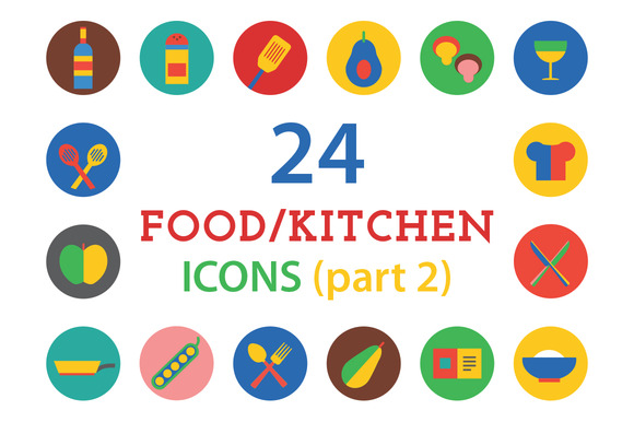 Kitchen Food Icons Vector Set