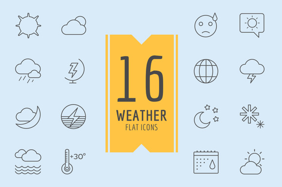 Weather Icons Vector Set Moon Sky