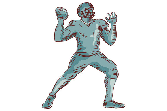 American Football QB Throwing Etchin