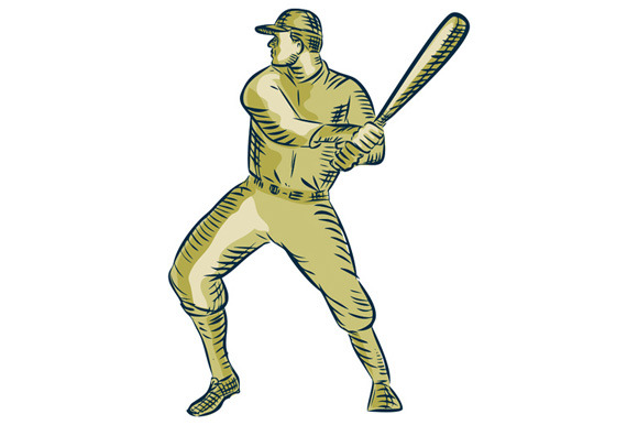 Baseball Player Batter Batting Bat E
