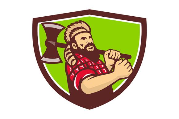Lumberjack Axe Shield Retro