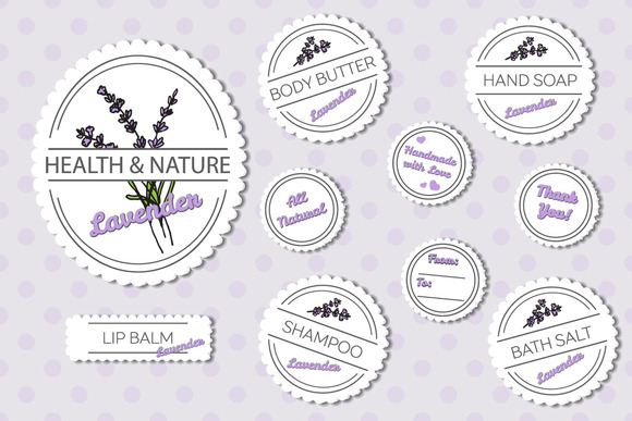 Set Of Labels Lavender