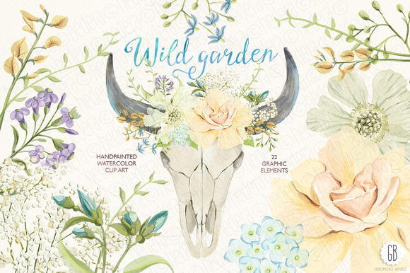 Watercolor Wild Garden Bull Skull