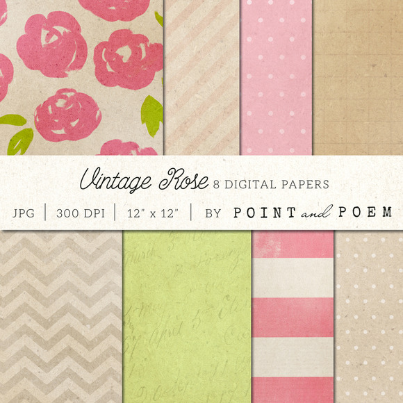 Vintage Floral Digital Papers