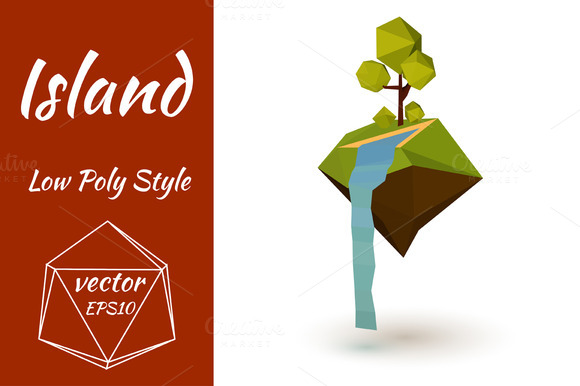 Abstract Vector Low Poly Island