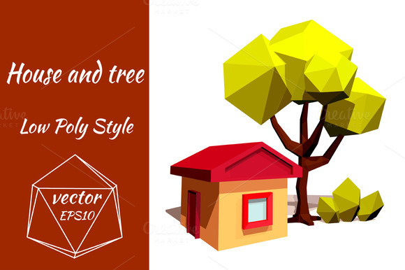 Little House And Green Tree Vector
