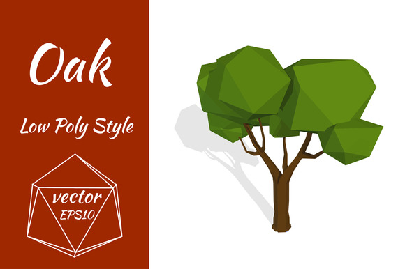 Oak Tree In Low Poly Style Vector