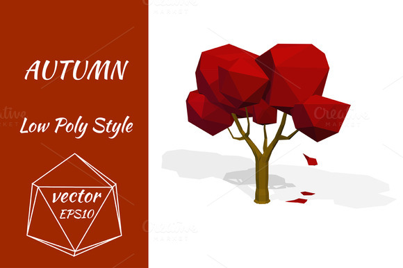 Red Tree In Autumn Vector
