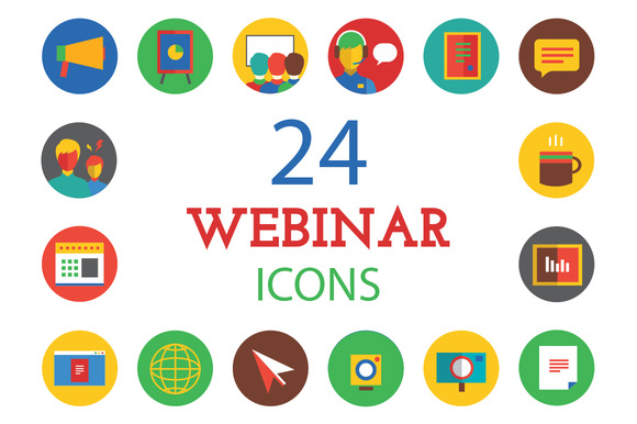 Training Icons Set Webinar Logos