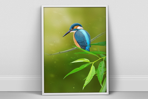 Kingfisher Portrait A4 Psd Poster