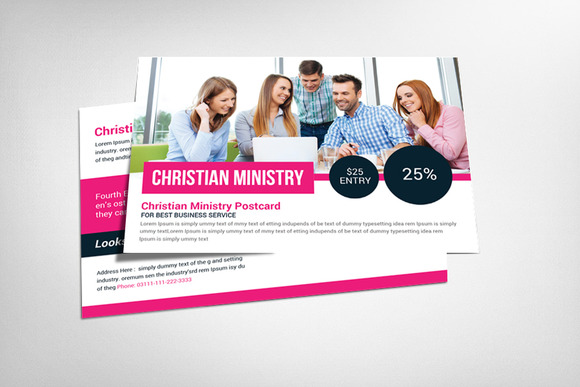 Christian Ministry Postcard Template