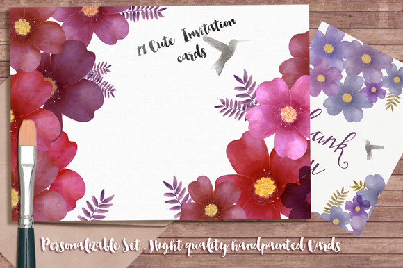 Personalized Invitations Floral Set