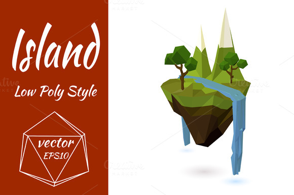 Flying Island With Mountains Vector