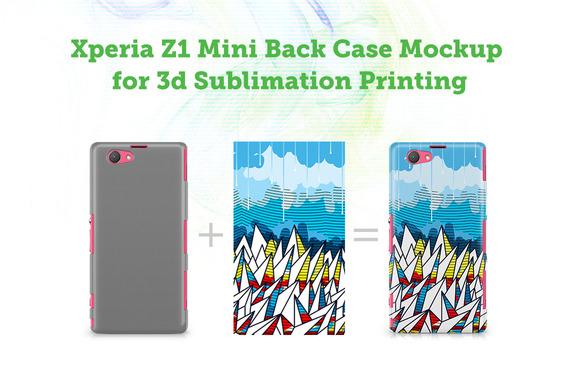 Sony Xperia Z1 Mini 3D Case Mockup