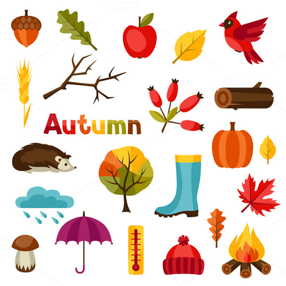 Backgrounds With Autumn Icons