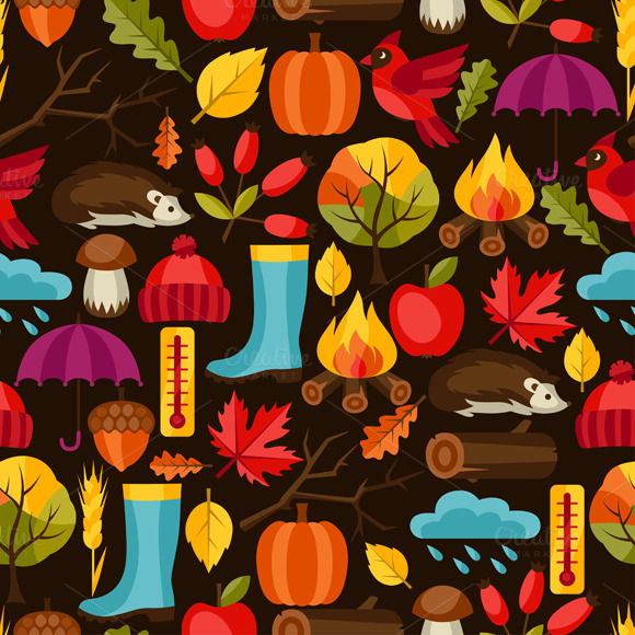 Seamless Patterns With Autumn Icons