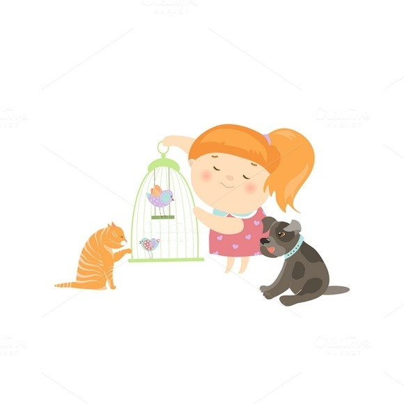 Cute Girl Surrounded By Pets