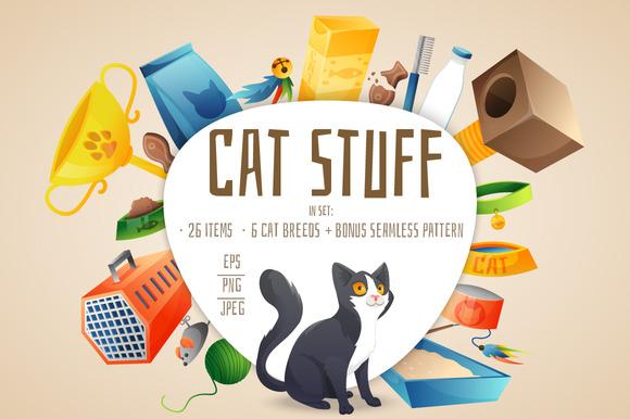 Cat Stuff Set 26 Items Bonus