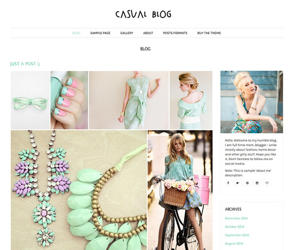 Casual Blog Feminine WordPress Theme