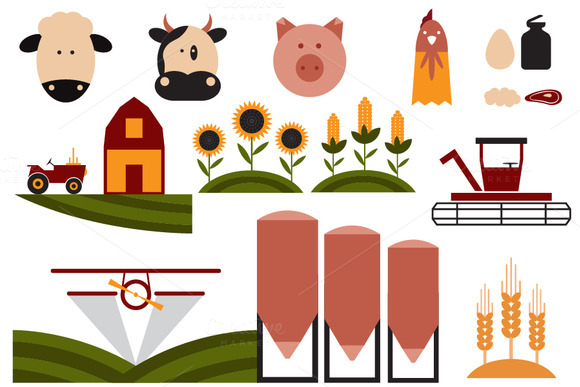 Flat Design Icons Of Agriculture