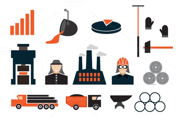 Flat Design Icons Of Metallurgy Indu