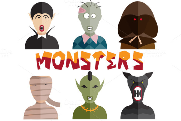Flat Design Monsters Icons