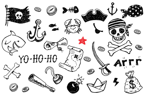 Pirate Doodles Set 8patterns