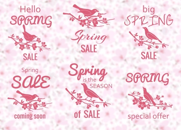 Spring Sale Labels With Birds