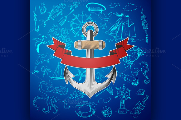 Stock graphic anchor with hand drawn elements for Anchor decoration css