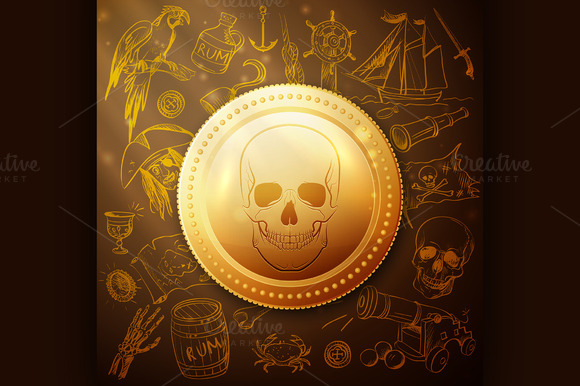 Coin Skull Pirate And Hand Drawn