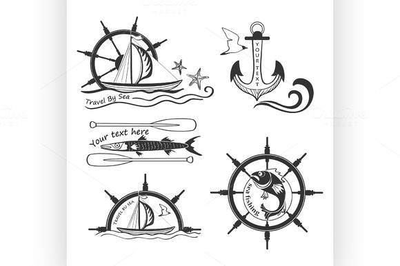 Labels Marine Theme Hand Drawing