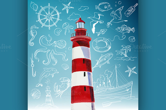 Lighthouse And Hand-drawn Icons