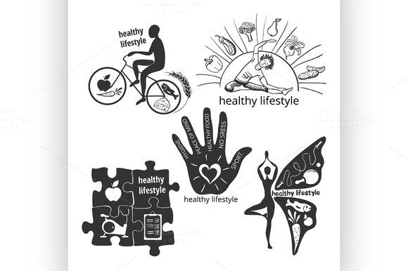 Set Of Icons Healthy Lifestyle