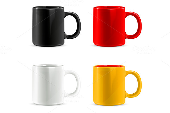 Multi Colored Mugs For Coffee Or Tea