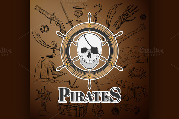 Skull Pirate And Hand Drawn Icon