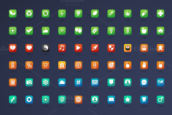 200 Long Shadow Square Icons