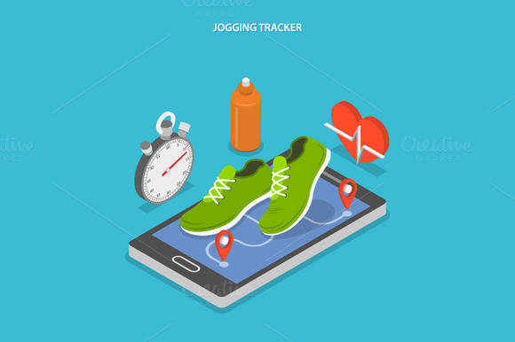 Jogging Tracker Isometric Concep
