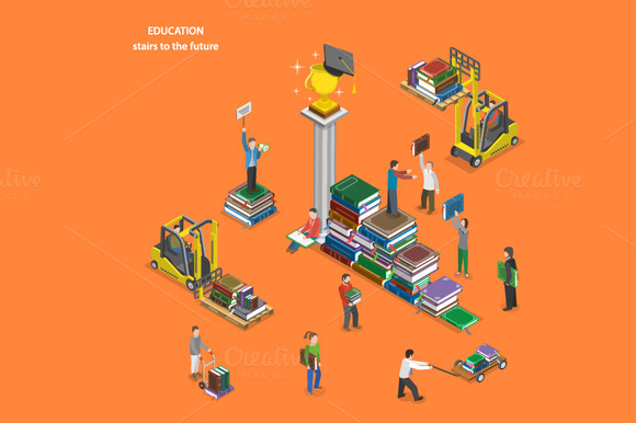 Education Isometric Concept