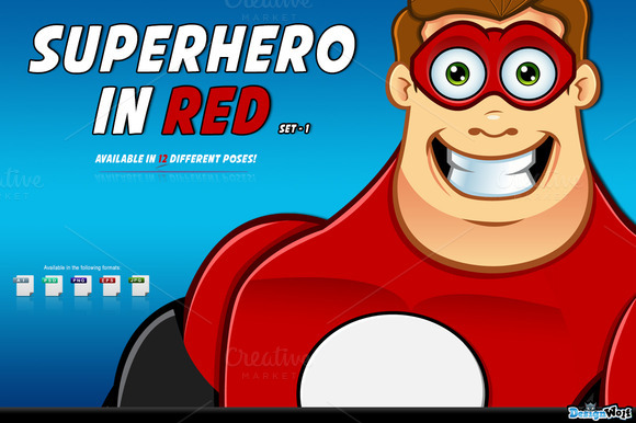 Superhero In Red Character Set 1