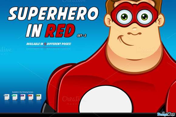 Superhero In Red Character Set 2