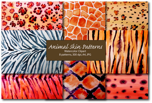 Watercolor Animal Skin Patterns